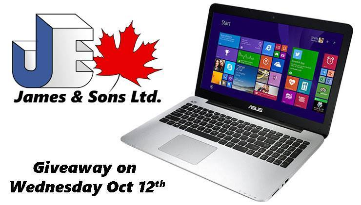 James and Sons October Laptop Giveaway